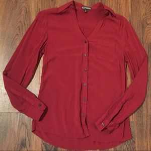 Express Red Button Down Blouse